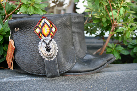 Canty Boot - Vintage Black 80's Beaded Zodiac