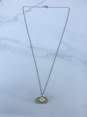 Helidor with diamon sterling silver necklace
