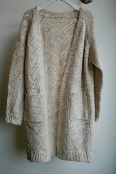 Cozy Toasted Oatmeal Woven Knit Cardigan