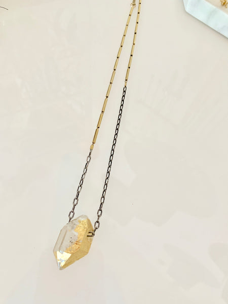 Gold Foil Herkimer Diamond Crystal Necklace - Gold Plated