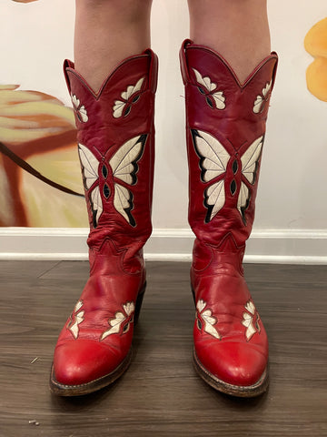 Vintage Tony Lama Butterfly Cowboy Boot - 1970's