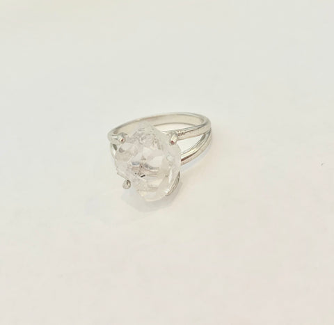 Single Herkimer Crystal Ring - Sterling Silver