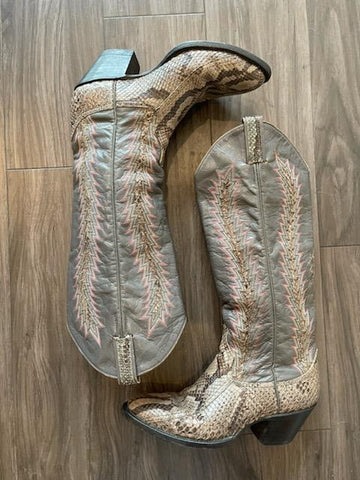 Vintage 1980's Larry Mahan Grey Exotic Leather Boots