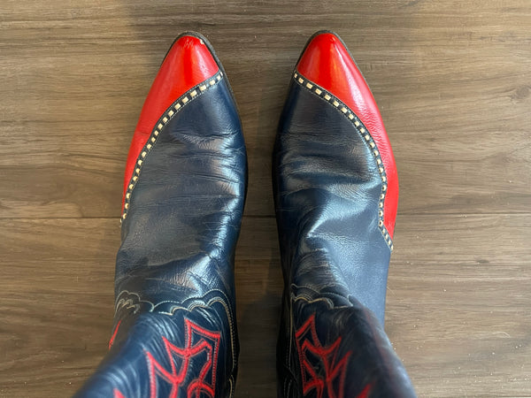 Vintage 1960's Red and Blue Laramie Boot