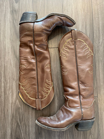 Vintage 1970's Brown Tony Lama Tall Boot