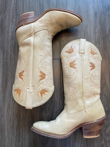 Vintage 1980's Acme Cream Boot