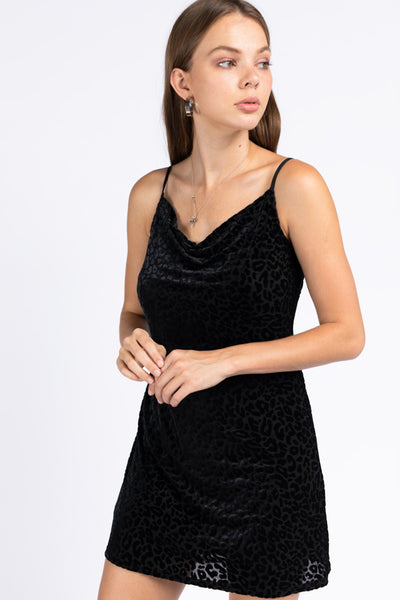 Cowl Neck Velvet Leopard Dress