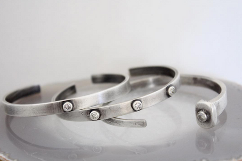 Sterling Silver Single Diamond Cuff