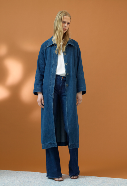 Raglan Denim Coat - Stone Blue