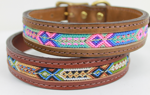 Leather Inlay Dog Collar - Large
