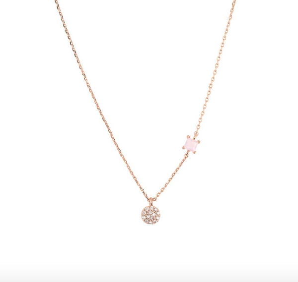 Simple Circle Rose Quartz Square Necklace -  18k Rose Gold Plated