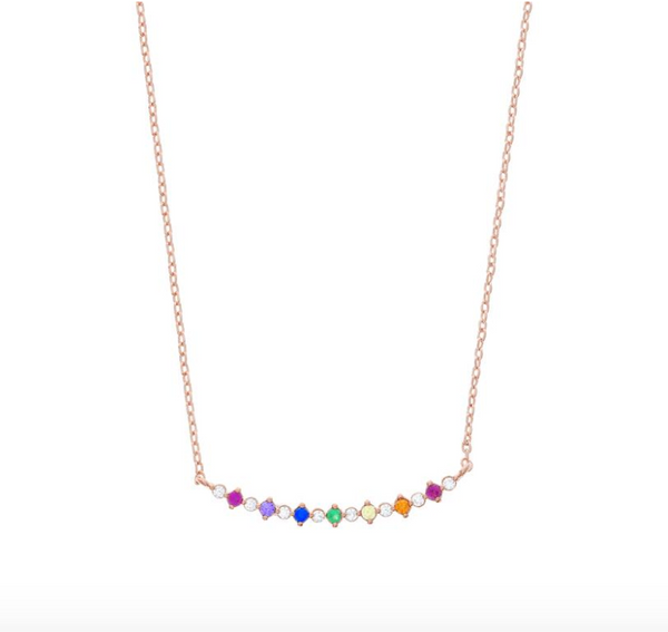Bar Diamond Rainbow Necklace - 18k Rose Gold Plated