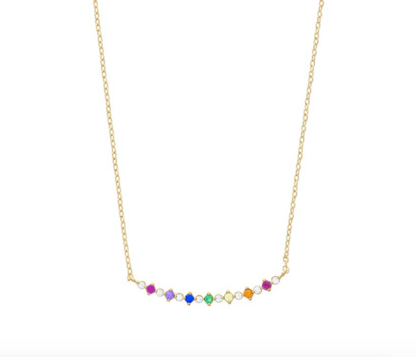 Bar Diamond Rainbow Necklace -  18k Gold Plated