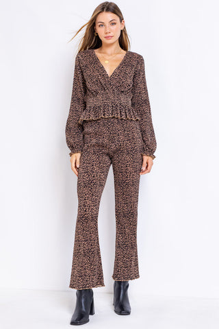 Leopard Print Pleated Pants