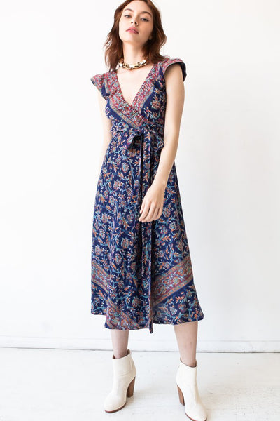 Anna Midi Wrap Dress - Traditional Paisley