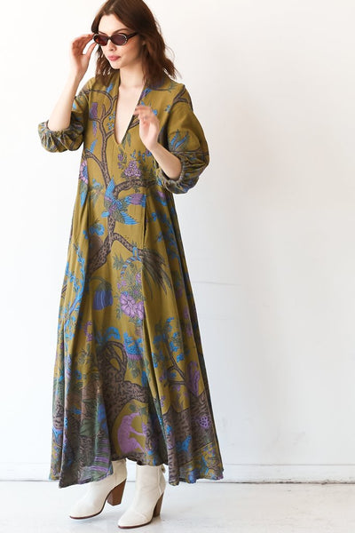 Cassandra Maxi Dress - Olive Tree of Life Tapestry