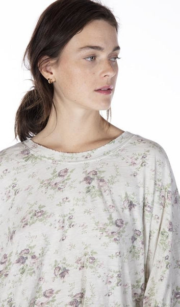 Top 885 Blackberry Rose Cotton Jersey Oversized Floral Print Francis Pullover Tee