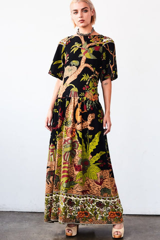 Agnes Maxi Dress - Black Tree of Life Tapestry