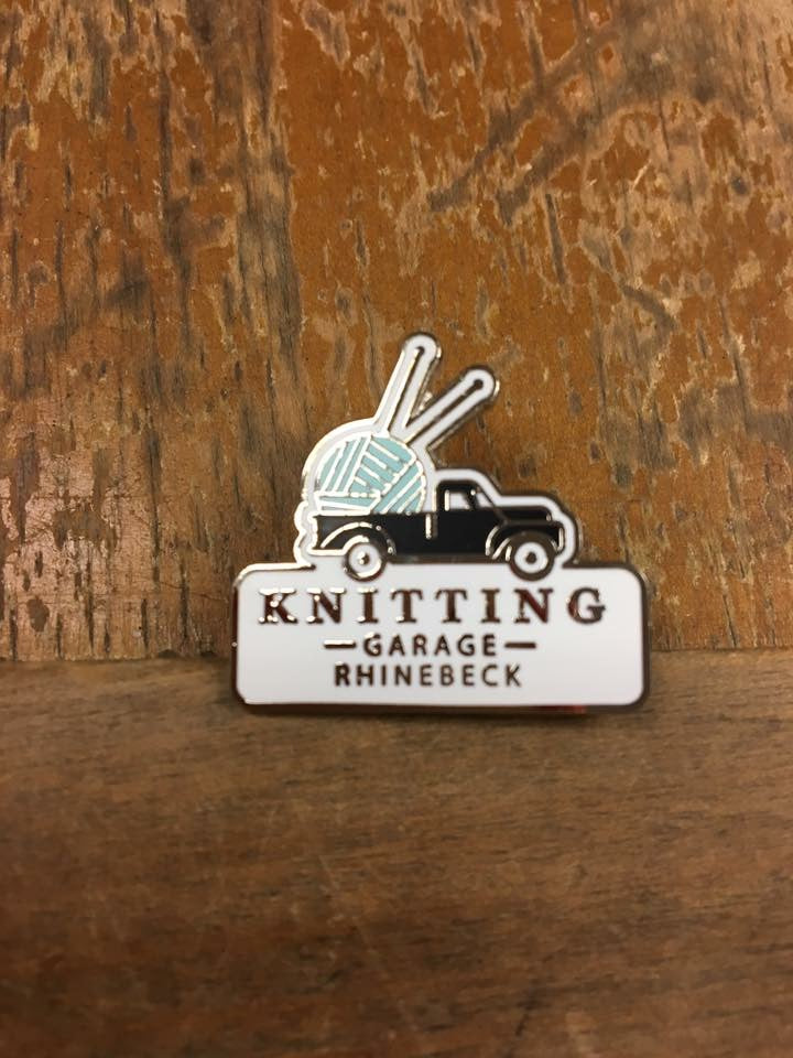 Knitting Garage Enameled Pin