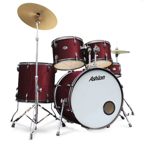 Ashton 5-Piece Drum Rock Kit, Wine Red
