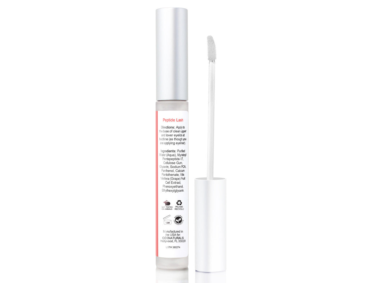 Eyelash Growth Serum PEPTIDE LASH Natural Regrowth Plant Stem Cells Enhancing Treatment For Longer Fuller Eyelashes Thicker Eyebrows With Pentapeptide-17 Panthenol, 5ml 0.16 Oz