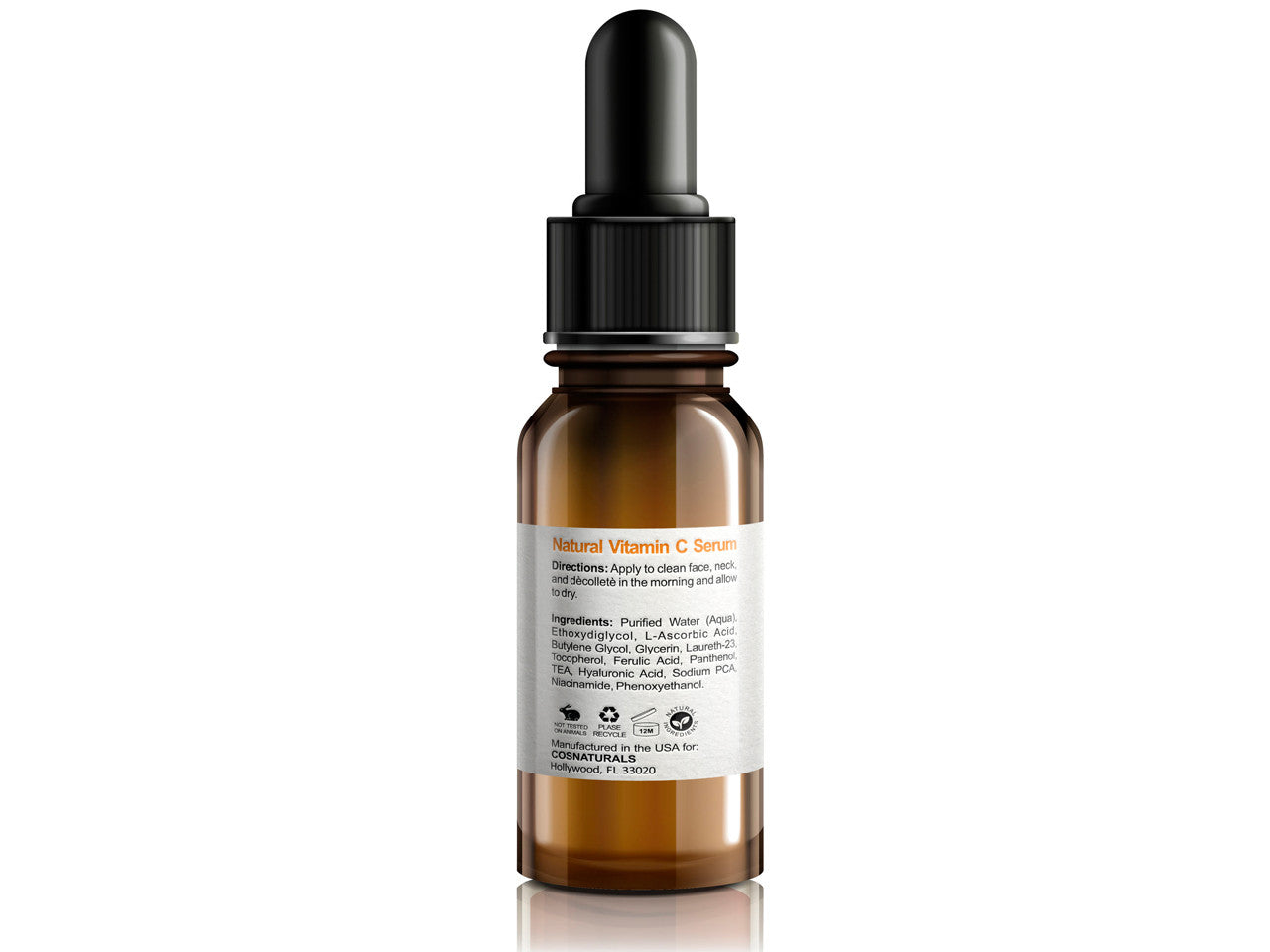 20% Vitamin C Serum with L-Ascorbic Hyaluronic and Ferulic Acid, 1 oz
