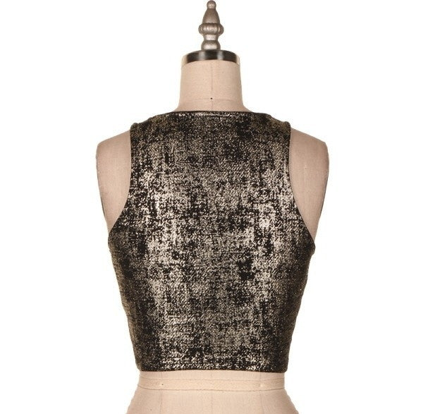 Metallic Fabric Crop Top