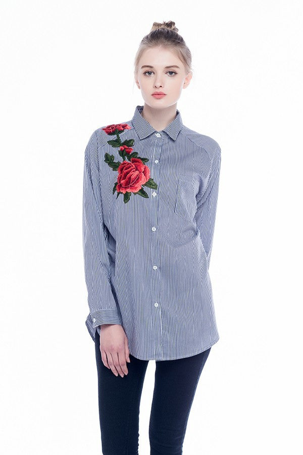 Long Sleeve Loose Embroidered Shirt