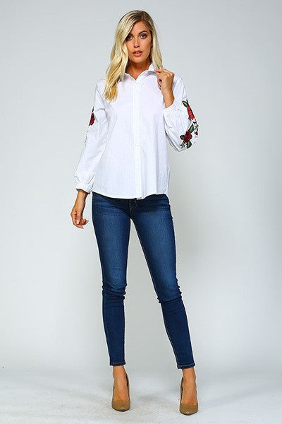 Long Flower Embroidered Sleeves Button Up
