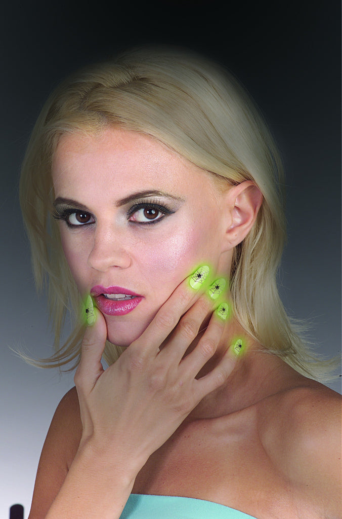 Glow In The Dark Spider Paint Nails