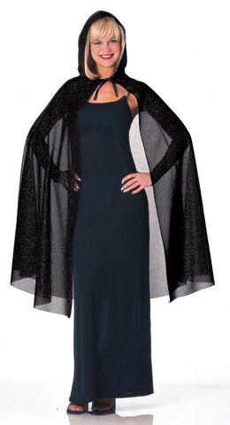 Black Hooded Glitter Cape