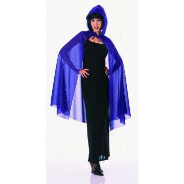 Purple Hooded Glitter Cape