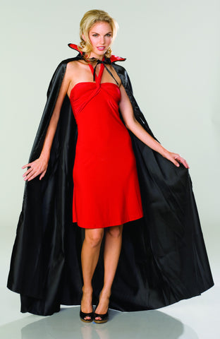 Black Satin Cape with Red Collar