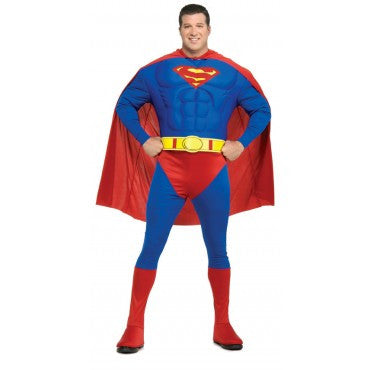 Mens Plus Size Deluxe Muscle Chest Superman Costume