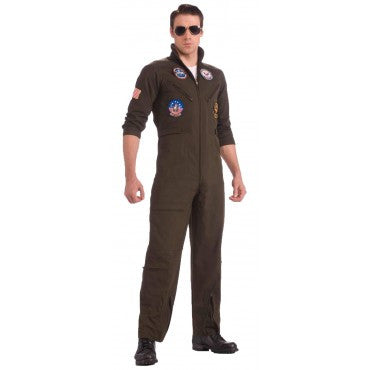 Mens Plus Size Top Gun Flight Suit Costume