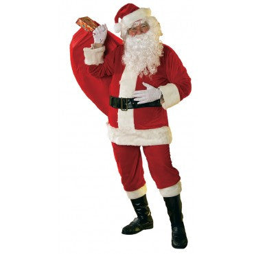 Mens Soft Velour Santa Suit