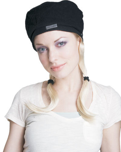 Black Hat with Blonde Pigtails