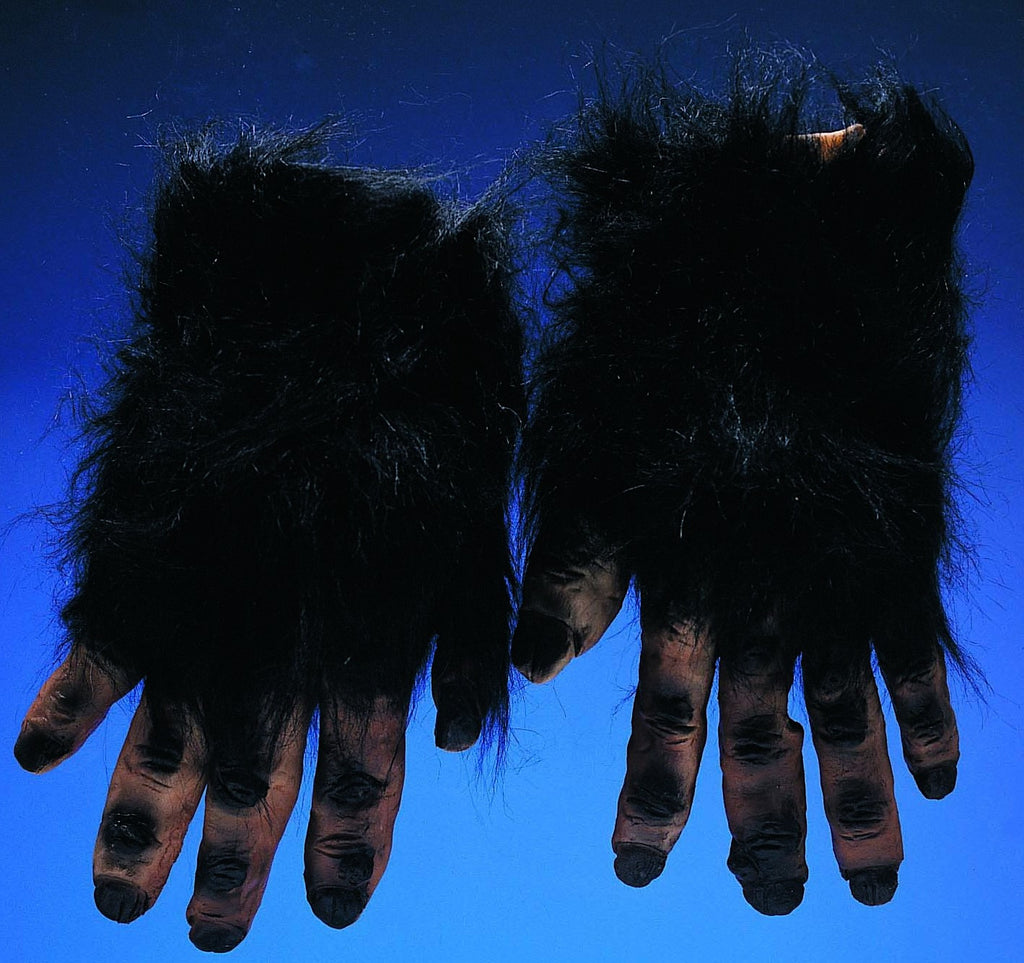 Black Hairy Hand Gloves