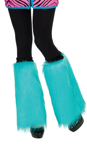 Adult Aqua Blue Fluffy Leg Warmers