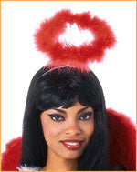 Red Luxurious Marabou Halo