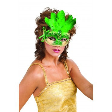 Green Feathered Carnival Eyemask