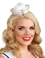 White/Silver Mini Sailor Hat