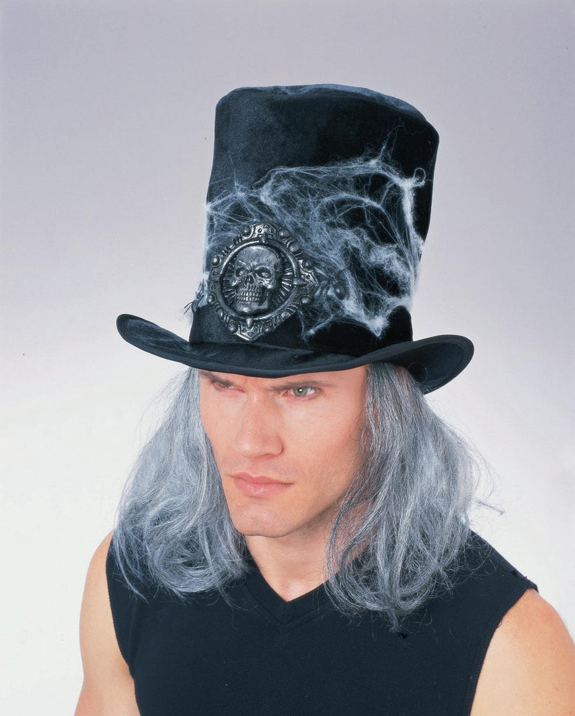 Black Velvet Cobweb Hat with Attached Hair