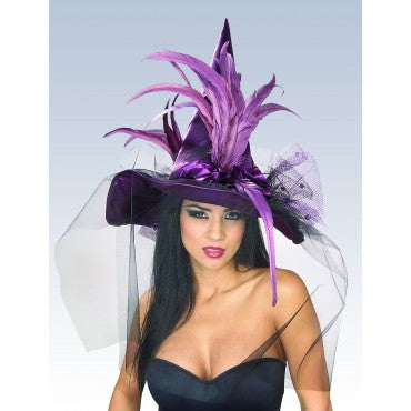 Purple Feathered Witch Hat