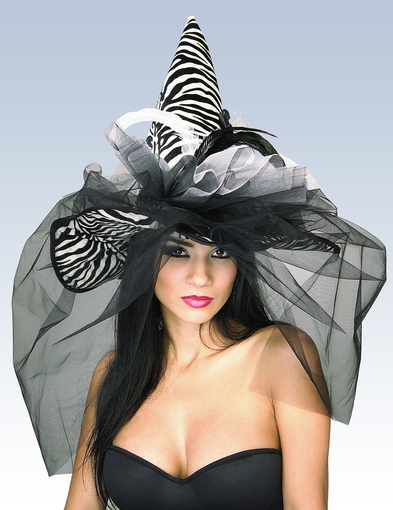 Zebra Witch Hat with Feathers and Veil