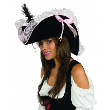 Pink Lace Pirate Hat