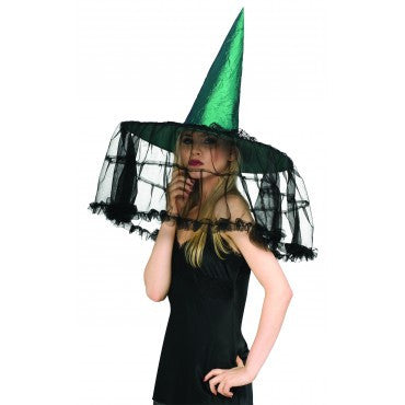 Emerald Witch Hat with French Veil