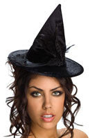 Mini Black Velour Witch Hat