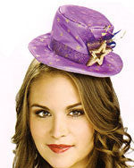 Purple with Gold Starts Mini Top Hat