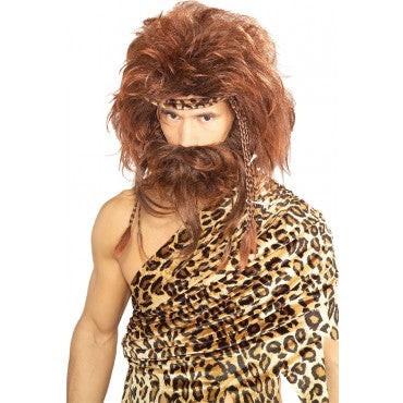 Caveman Beard and Wig Set with Bones - Various Colors